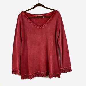 Soft Surroundings Waffle Knit Lace Thermal top L